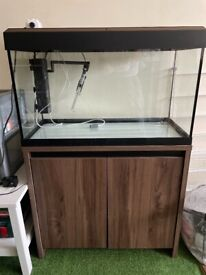125l fluval Roma with cabinet, light, filter, heater, air pump