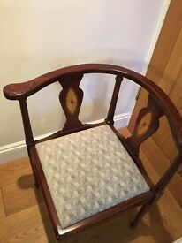 Edwardian corner chair, upholstered seat
