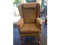 HSL high back comfortable chair in plain cocoa with headrest and arm covers - like new