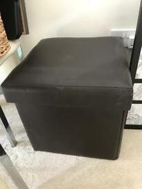 Brown faux leather stool storage