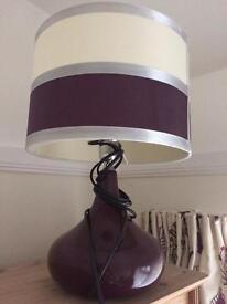 Purple, Cream & Silver Lamp & Shade