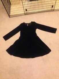 Marks & Spencer girls black velour dress age 8-9 years
