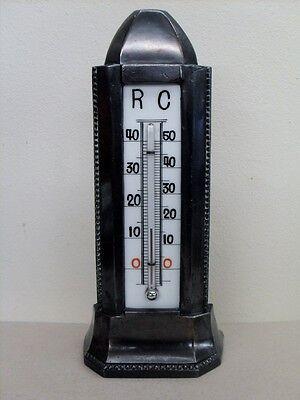 Jugendstil Thermometer Bronze tolle dunkle Patina Obelisk-Form Standthermometer