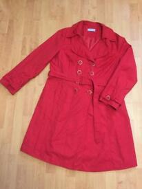 Wallis Red Trench Coat size 18