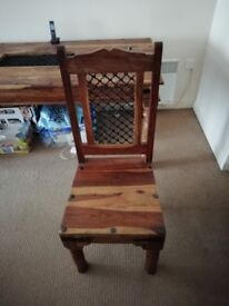 Large Brown Wooden Dining Table With Four Matching Chairs