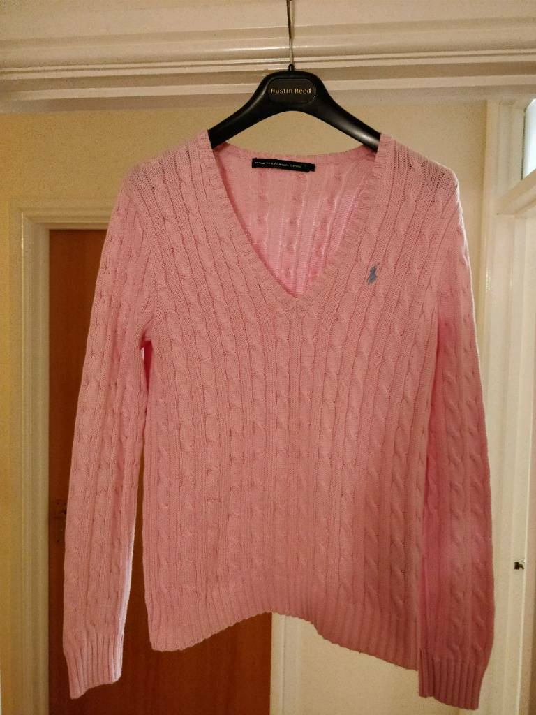 a9daa013f744f Womens Polo Ralph Lauren sport cable knit jumper pink large