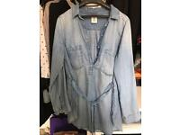H&M maternity denim shirt size S-M