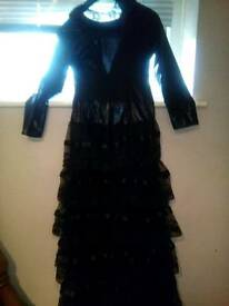 Wetlook and lace layered long dress sz 10 ideal for halloween costume