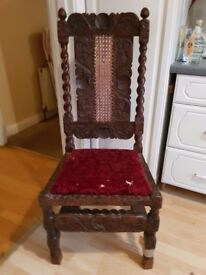 Antique Gothic Hall Chair with high back