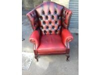 Red Leather Comfy Chesterfield Queen Ann Armchir FREE local Delivery