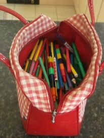 A BAG FULL OF PENCILS, CRAYONS, FELT TIPS, RUBBERS, SHARPENERS....