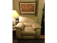 Immaculate Cream Leather Sofa Recliner Chair