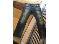 Men's 36R River Islands Skinny Stretch Blue Jeans with Fading, Rip/Repair Detailing Hand Finished