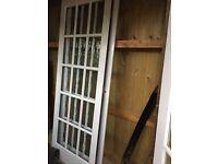 2 Wooden Glass Panelled Doors