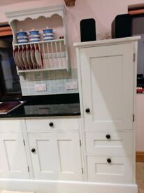 Painted kitchen for sale due to be removed in March. A separate island unit with wine rack.
