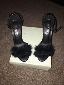 Cream Fur Heals With Strap Size 3 In Box Brand New Wellcome To View Any Questions Please Ask
