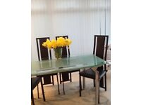 Glass table 4chairs
