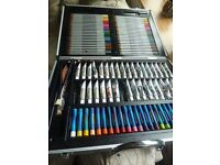 Artists acrylic paints and coloured pencils