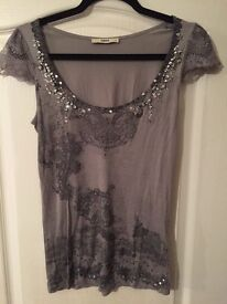 Jewel, Lace and Print Grey Oasis T Shirt