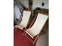 Pair of wooden deckchairs - £50 for both