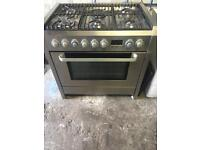 Aeg Electrolux stainless steel range gas cooker and electric oven 90cm