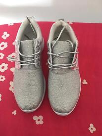 Silver sparkly trainers size 40