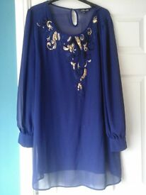 ladies purple party dress with gold detail. size 18.