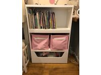 Rackham toybox, and two bookshelves with 2 pink storage boxes from GLTC.