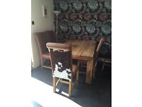 chunky rustic reclaimed wood Table For beautiful charming real leather cowhide chairs