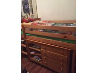 Single high bed with drawers