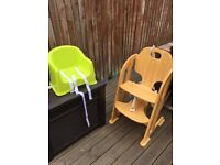 Wooden high chair, mothercare, removable tray to fit chair at table