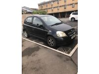 Black Toyota Yaris. £650 ONO. Y reg, manual, petrol.