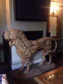 FULL SIZE CARVED LION SCULPTURE