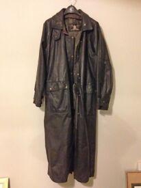 Men's full-length black leather coat