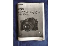 Canon Elan 7 E 30/30 Date 35mm SLR Film Camera Instruction Book Manual Guide