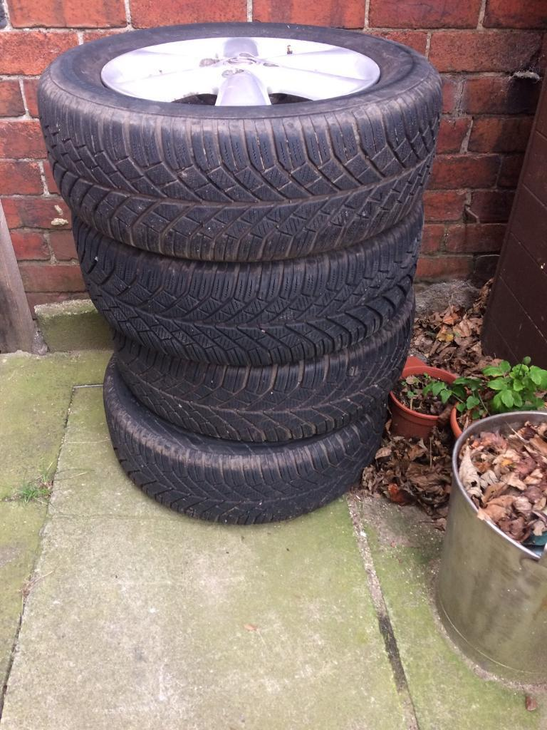 Nissan note alloys and winter tyres continental 195/60/15 wheels