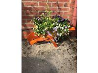Wooden wheelbarrow stunning with beautiful flowers