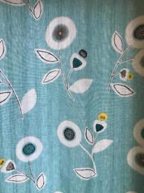 Next teal curtains and matching cushions
