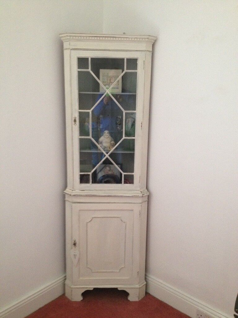 Shabby Chic Corner Unit Cabinet Finished In White Chalk