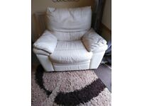Free Cream Leather Recliner Armchair