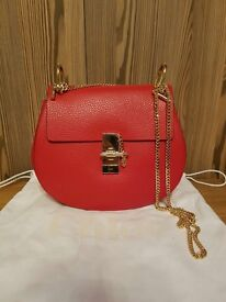 Chloe drew bag red grained leather size small new authentic
