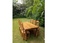 Solid Oak Dining Table and 6 Chairs - Etton