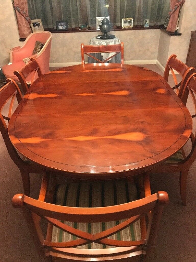 Regency Reproduction Dining Table And Chairs Yew Wood