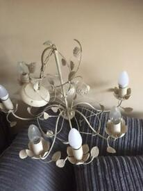 "2 matching chandeliers, ""Eva"" B&Q antique cream"