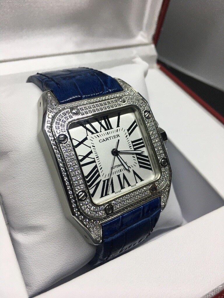 Cheap Tag Watches Uk >> Blue strap Cartier Santos 100 automatic diamond ice AP Audemars Piguet hublot Rolex | in ...