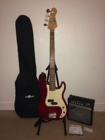 Bass Guitar package - Amp, stand, bag, strap, strings