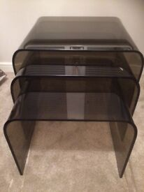 M&S Smoked Glass Nest of 3Tables