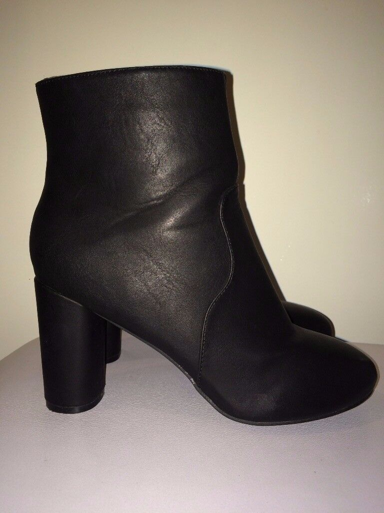 ATMOSPHERE / for pack of pampers / Ankle Block Heeled Boots matt SIZE 7 , 40/41 WORN TREE TIMES