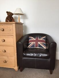 Gorgeous leather armchair in chocolate brown