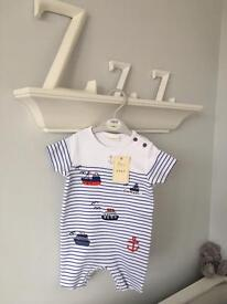 BNWT NEXT Baby Sailor Boats Romper Babygrow 3-6 Months RRP £14